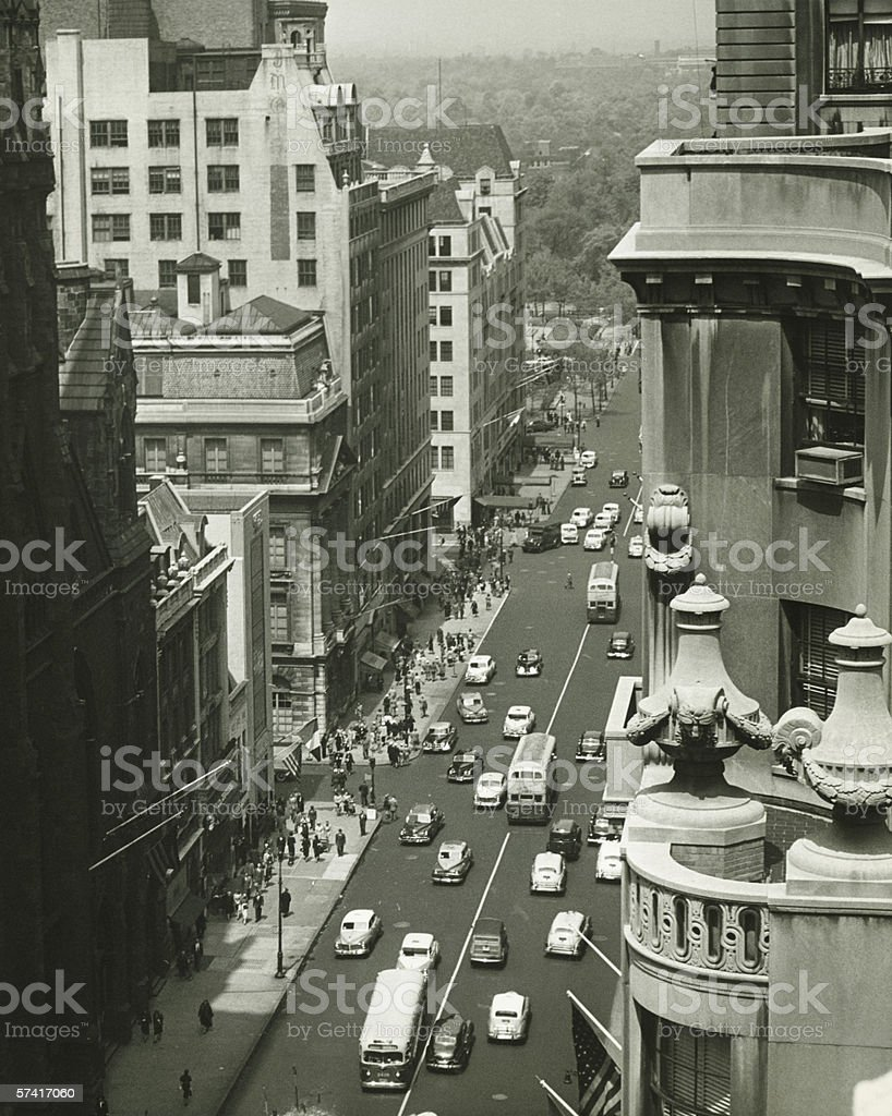 Fifth Avenue, New York City, (B&W), (High angle view) stock photo