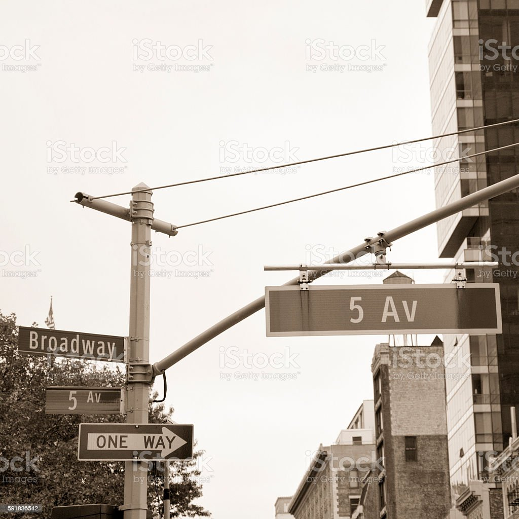 Fifth Avenue road sign, New York City stock photo