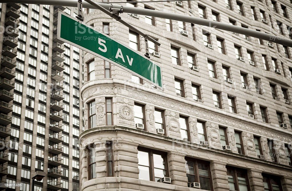 Fifth Avenue Sign New York stock photo