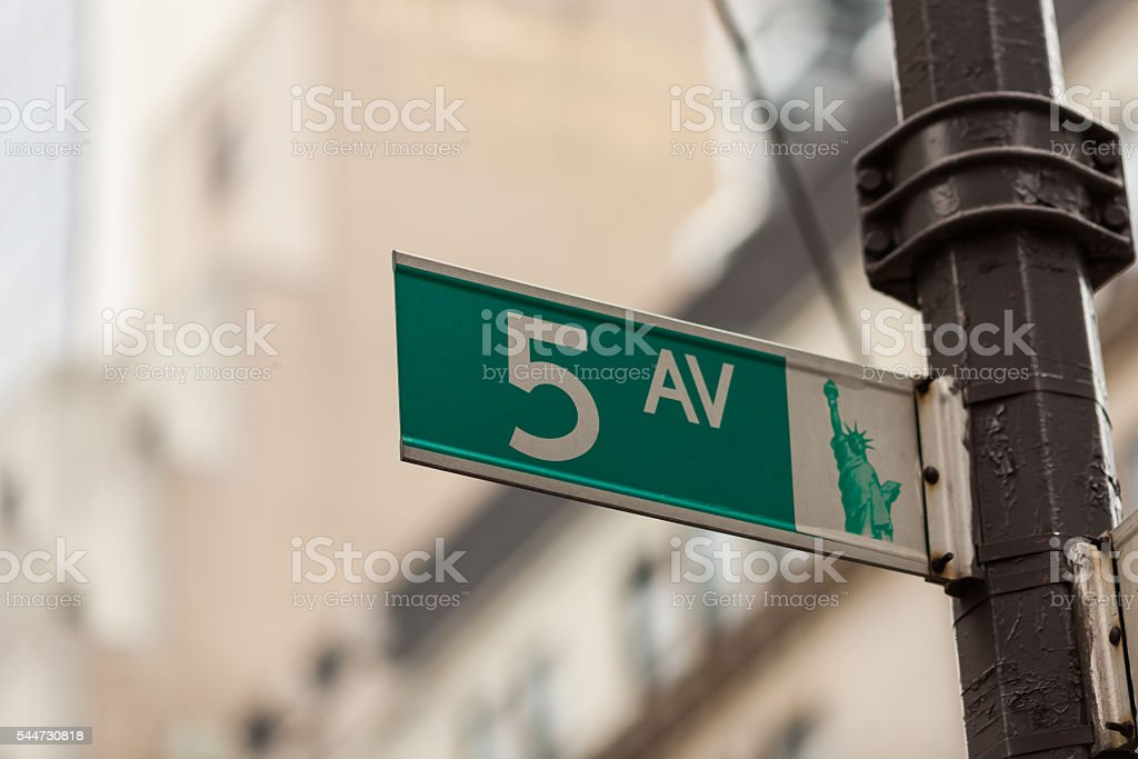 Fifth Avenue street sign in NYC stock photo