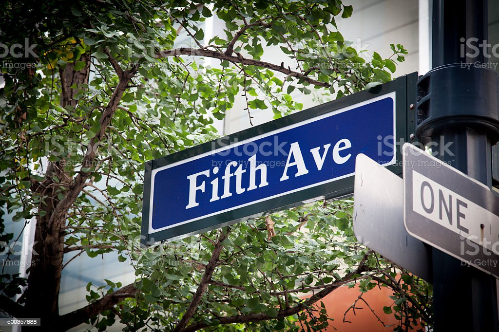 Fifth Avenue street sign stock photo