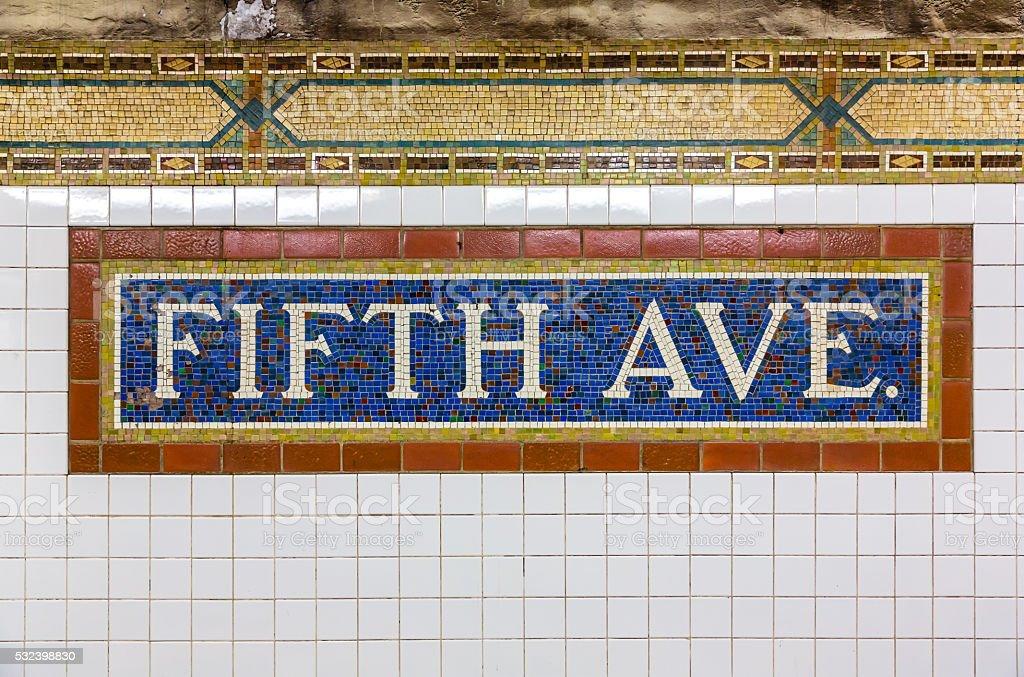 Fifth Avenue Subway Station stock photo