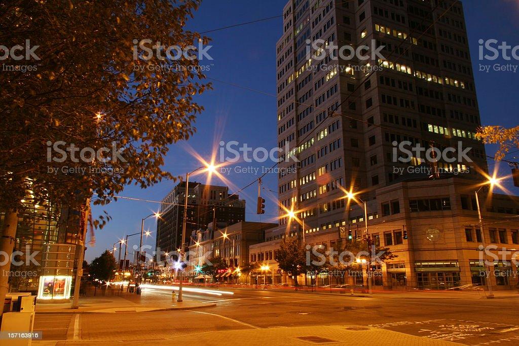 Fifth Third Center Building, Dayton, Ohio, Night stock photo