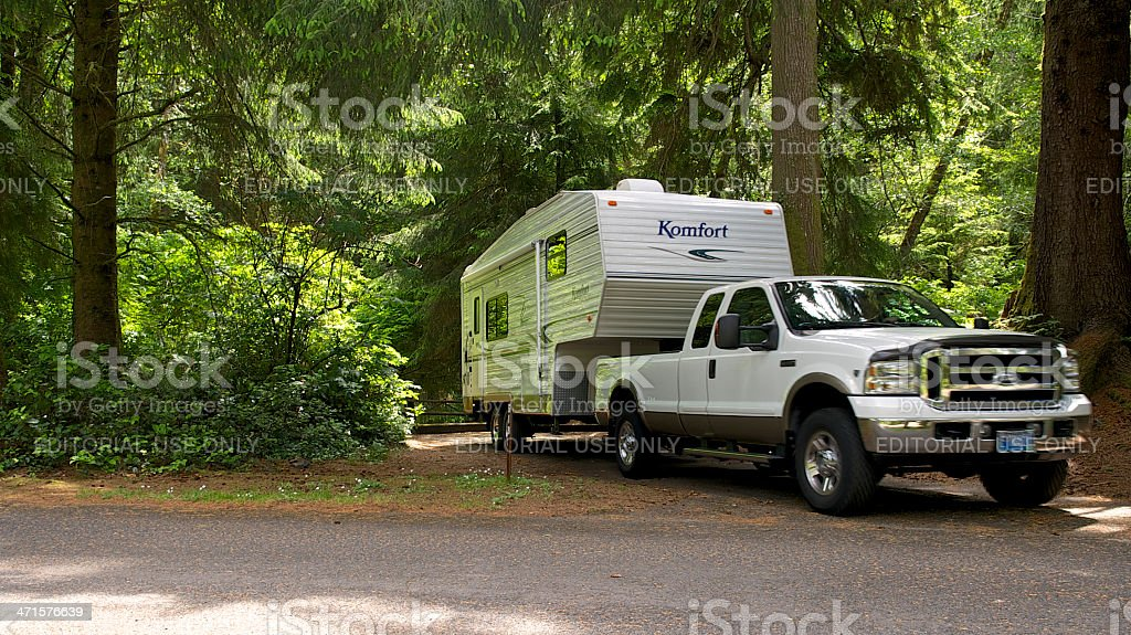 Fifth Wheel Rv Leaving Campsite Beverly Beach State Park Oregon stock photo