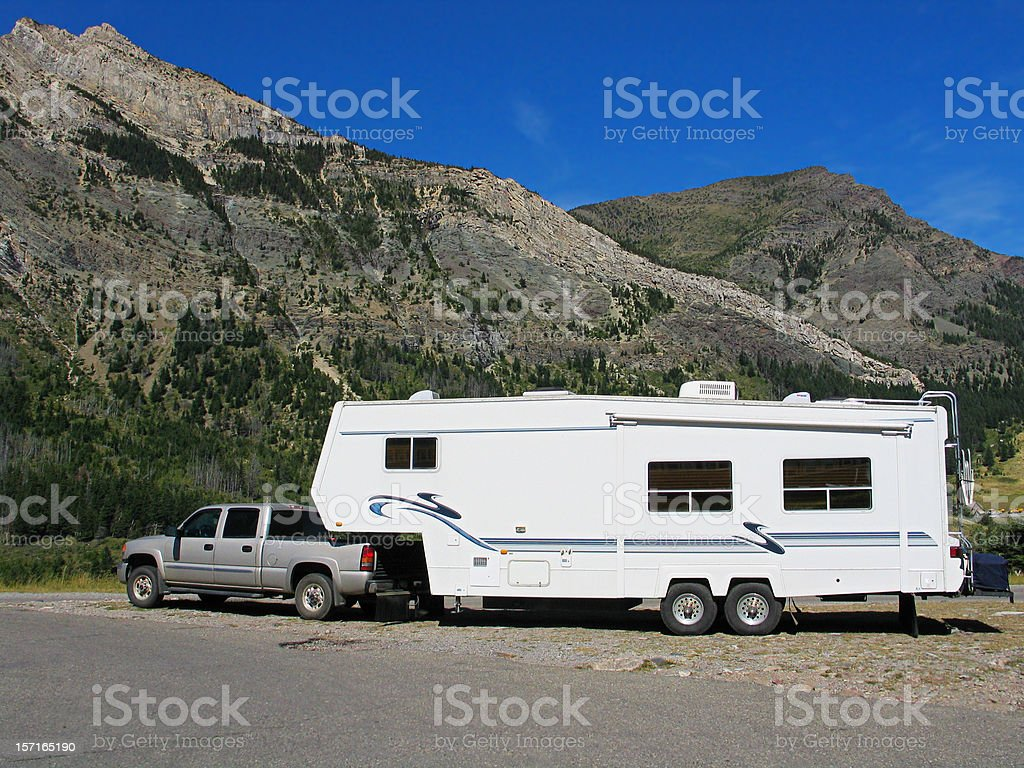 Fifth Wheel & Scenic Background stock photo