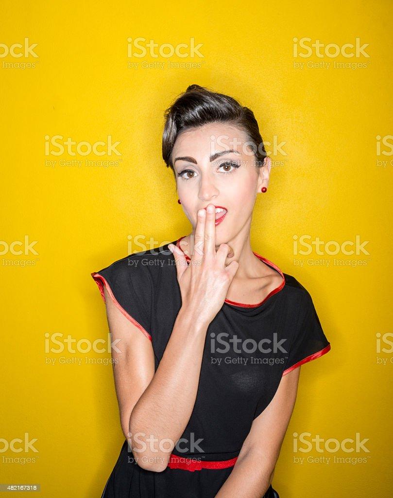 Fifties 1950s style ring flash portraits: beautiful woman stock photo