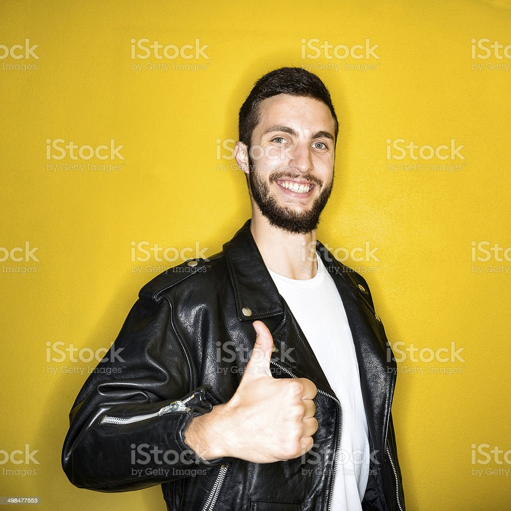 Fifties 1950s style ring flash portraits: man with leather jacket stock photo