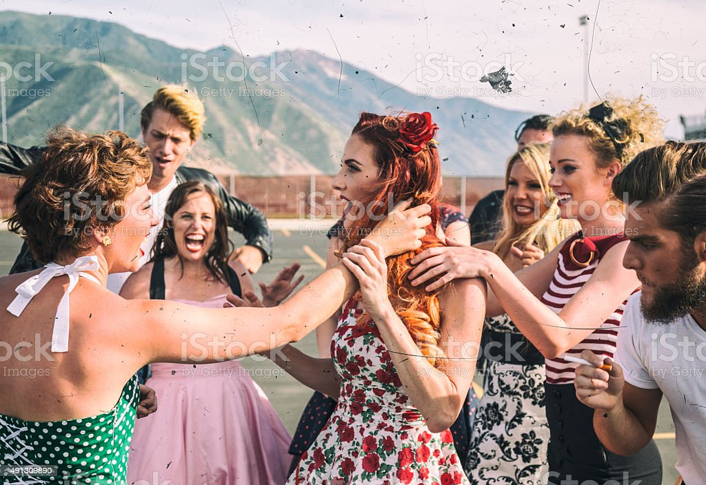 Fifties High School Girls Cat Fight Pulling Hair stock photo