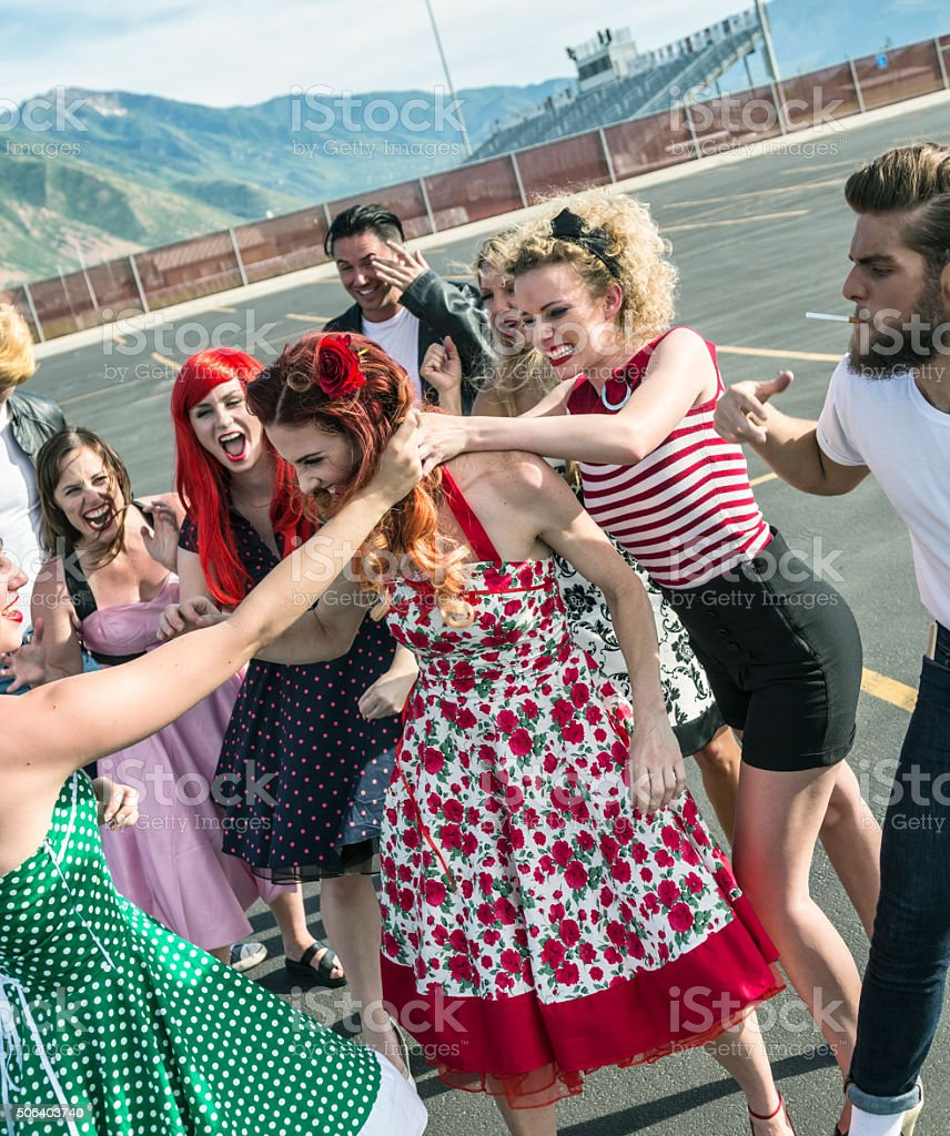 Fifties High School Girls Pulling Hair Cat Fight stock photo
