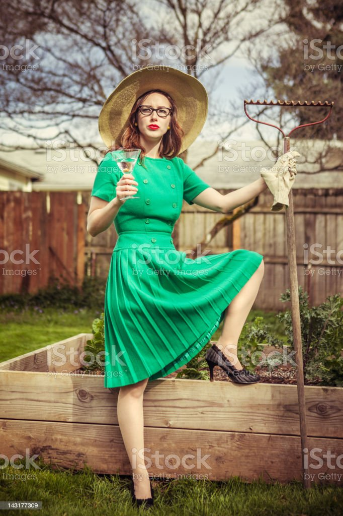 Fifties Style Gardening Housewife stock photo