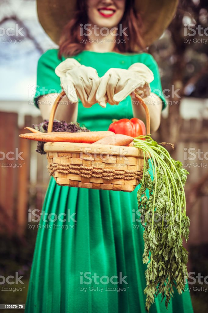 Fifties Style Housewife with Vegetable Basket stock photo