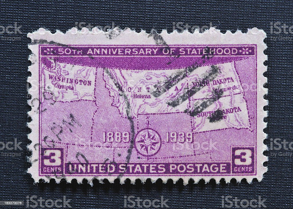 Fiftieth Anniversary of Statehood 3 cent Stamp royalty-free stock photo
