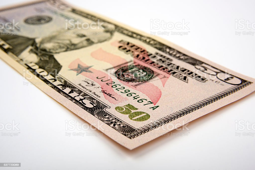 Fifty American Dollar Bill stock photo