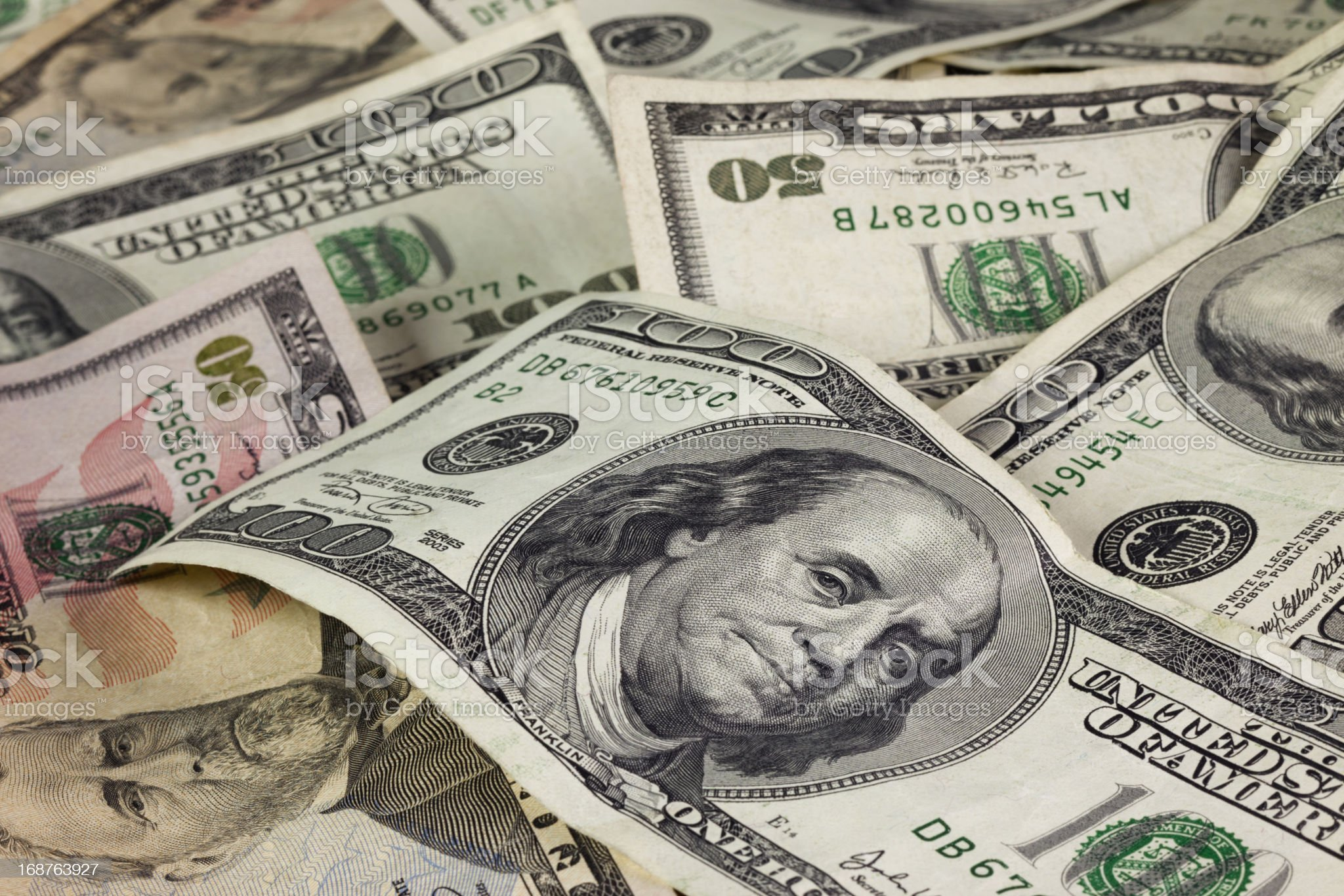 Fifty and Hundred Dollar Bills royalty-free stock photo