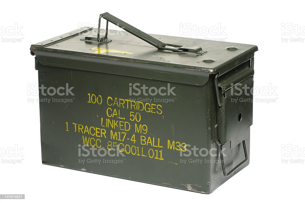 Fifty caliber bullet case stock photo