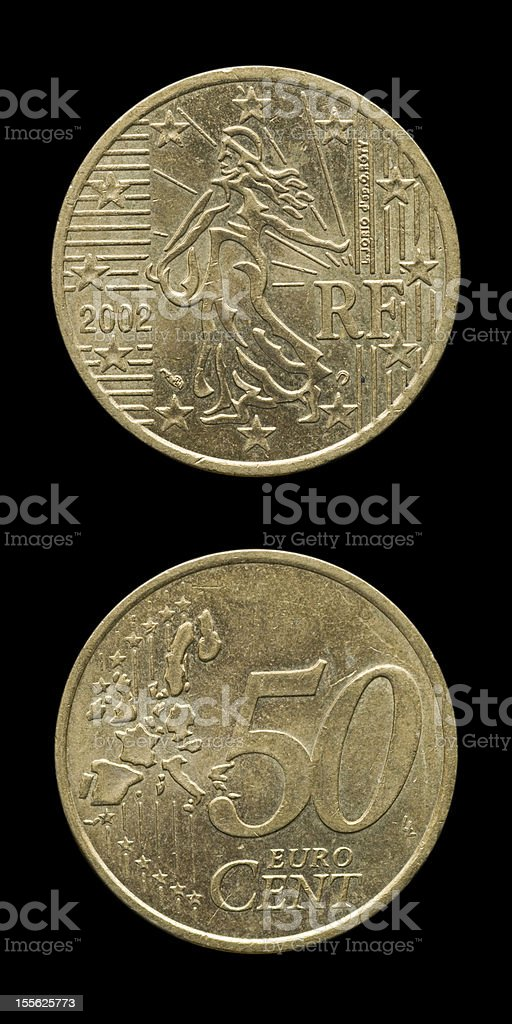 Fifty Cents Euro -France- stock photo