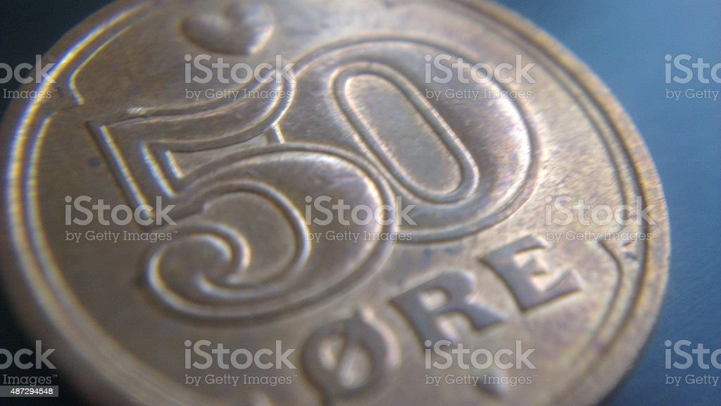 Fifty danish ore coin stock photo