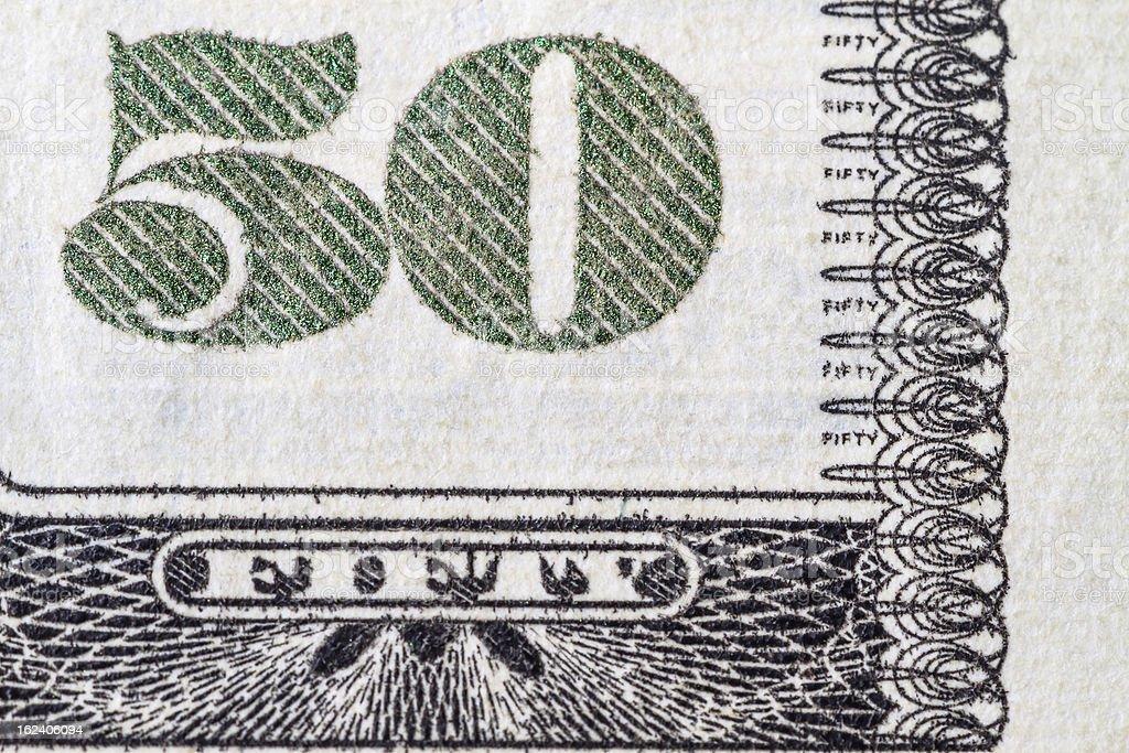 Fifty Dollar Bill royalty-free stock photo