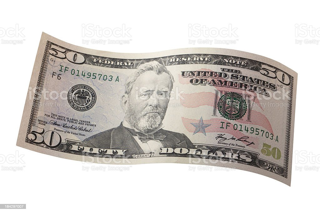 Fifty dollar bill stock photo