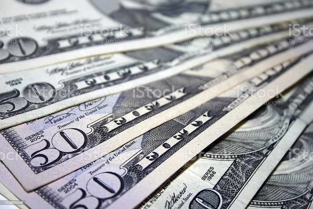 Fifty dollar bills 2 stock photo