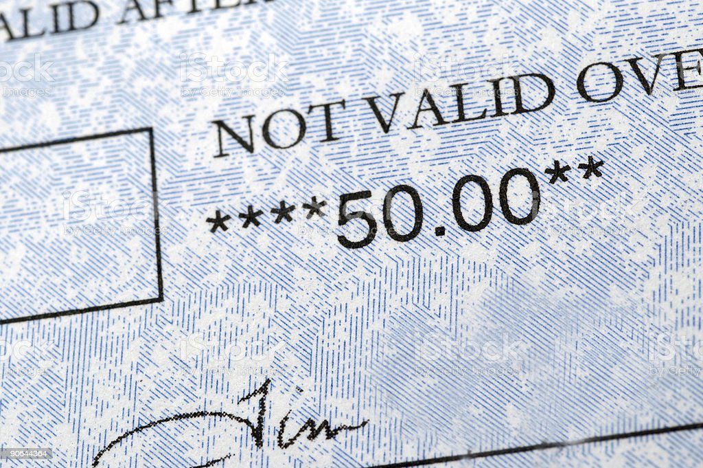 fifty dollar check detail royalty-free stock photo