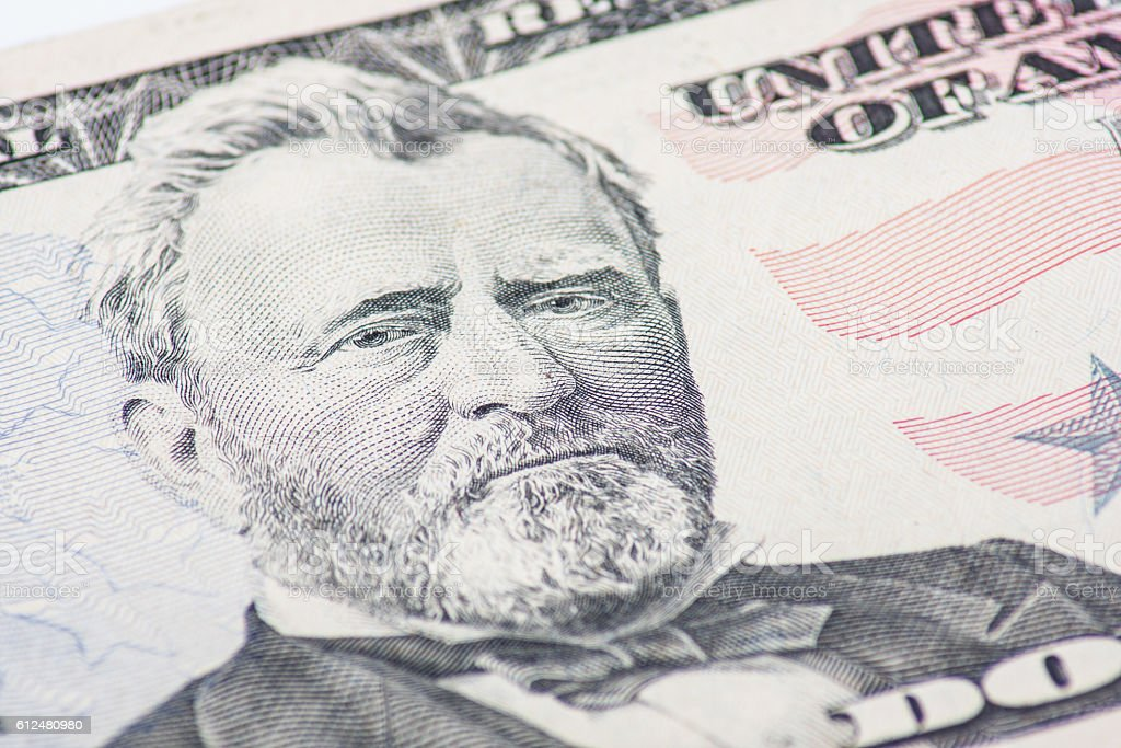Fifty dollar note detail stock photo