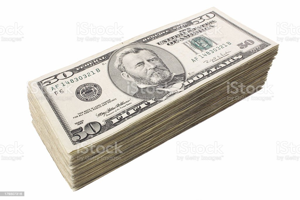 Fifty dollars big pile royalty-free stock photo