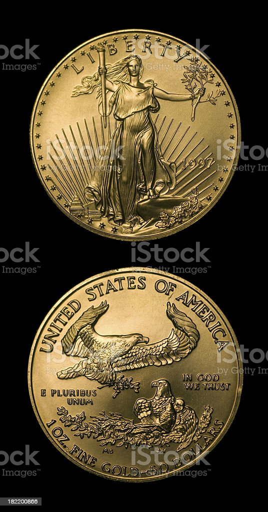 Fifty Dollars Gold royalty-free stock photo