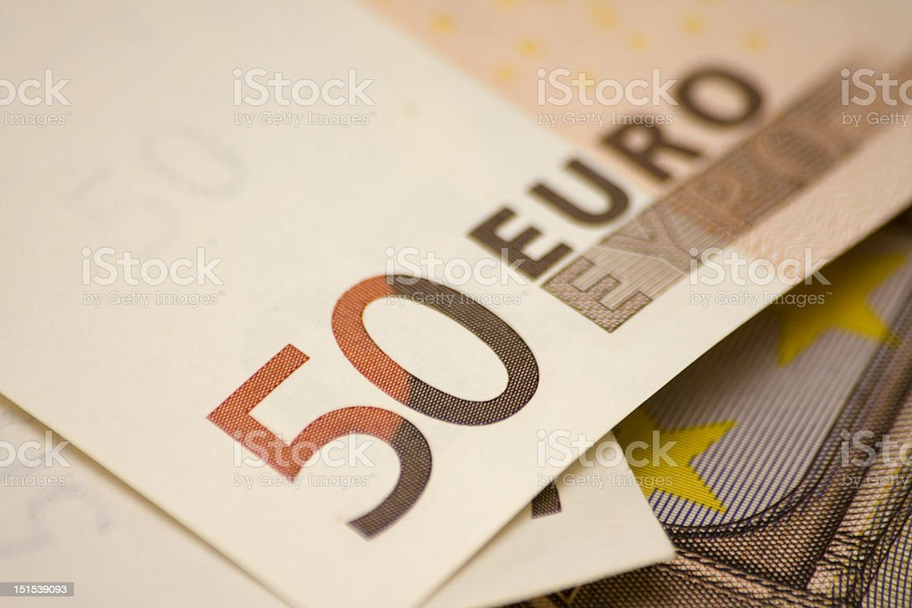 Fifty euro banknote close-up stock photo