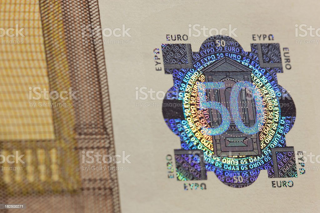 Fifty Euro banknote detail royalty-free stock photo