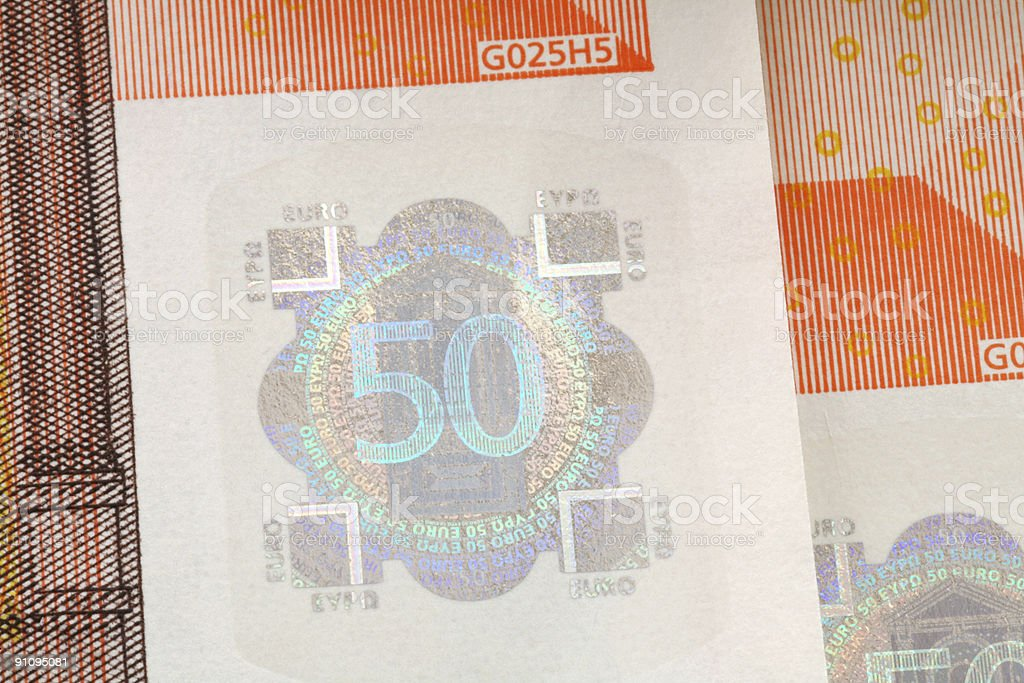 Fifty Euro banknote detail  (XL) royalty-free stock photo