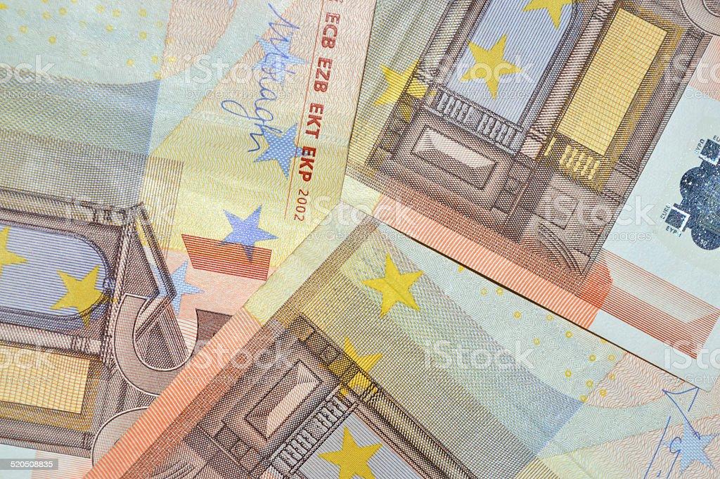 Moneda de fondo de billetes de banco de cincuenta euros foto de stock libre de derechos