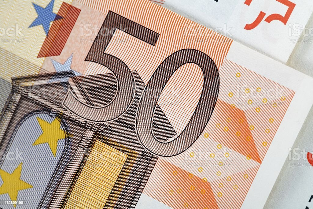 Fifty euro macro stock photo