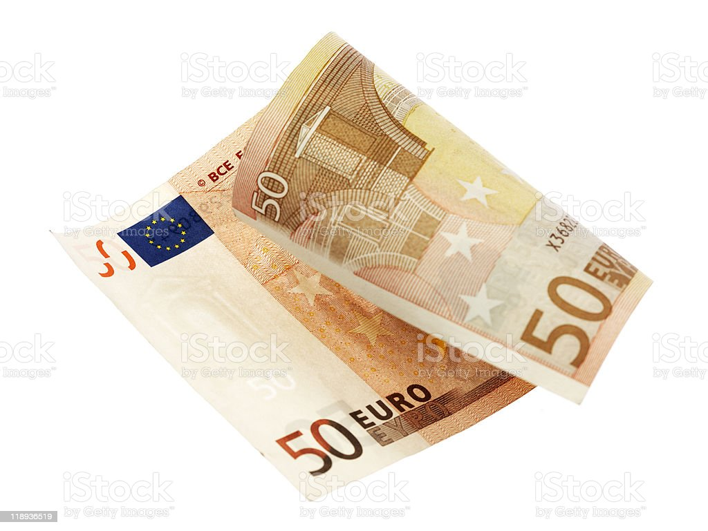 A fifty euro note folded in half on a white background stock photo