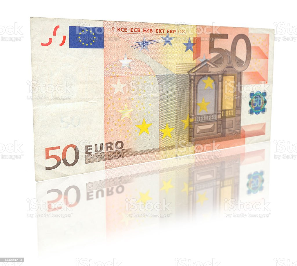 Fifty Euro with reflection stock photo