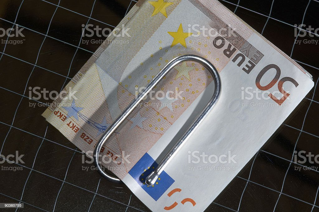 fifty euro with silver clip stock photo
