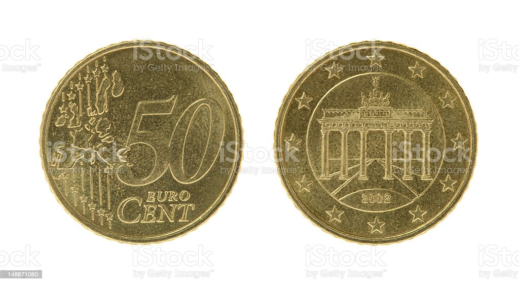 Fifty Eurocents Coins stock photo