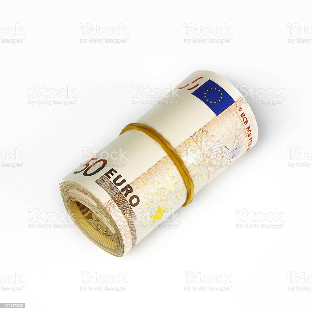 Fifty euros notes rolled up royalty-free stock photo