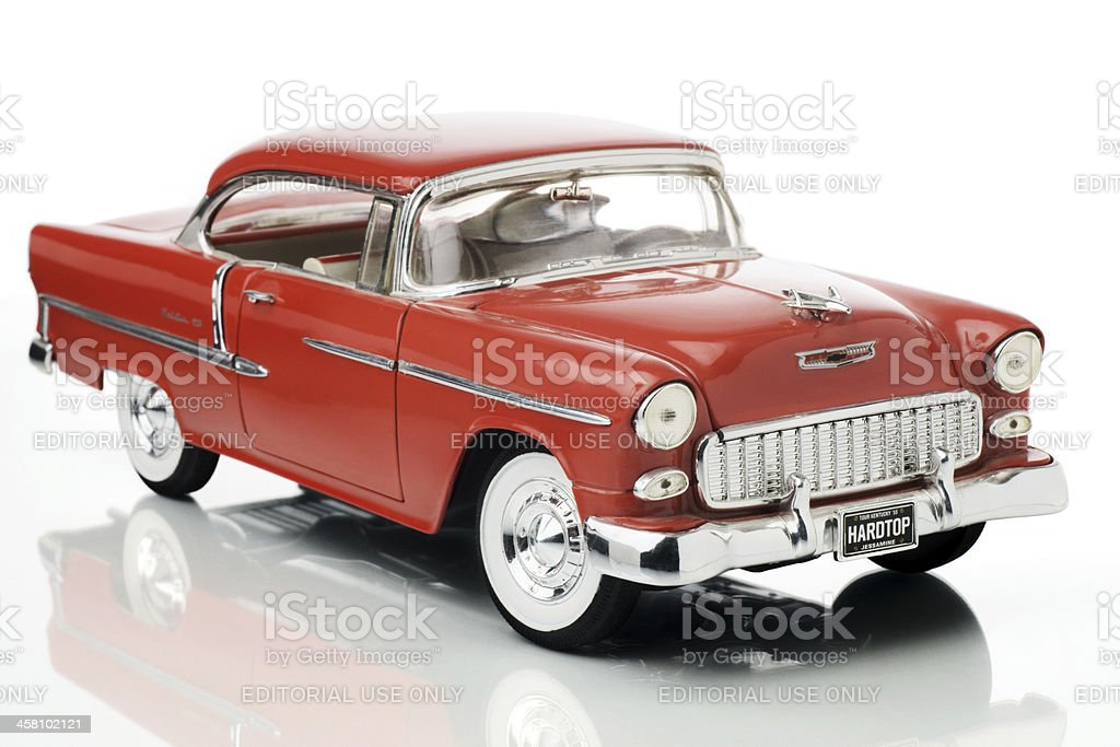 Fifty five Chevrolet Bel Air 1/18th scale model, front view. stock photo