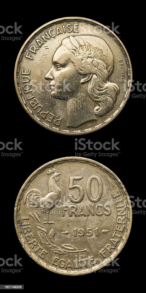 Fifty French Francs stock photo