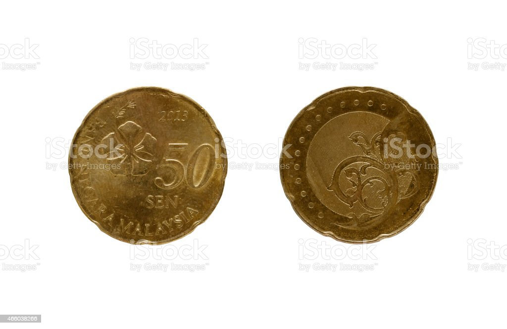 Fifty Malaysia cents coin stock photo
