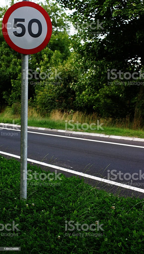 Fifty miles per hour road sign royalty-free stock photo