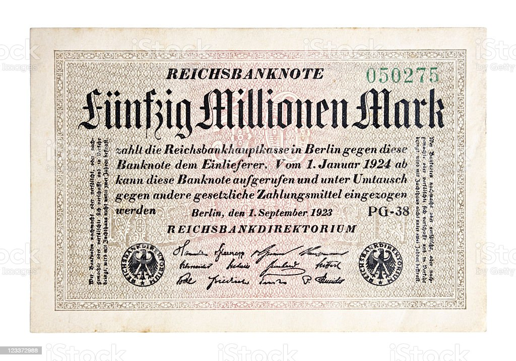 Fifty Million Mark Bank Note stock photo