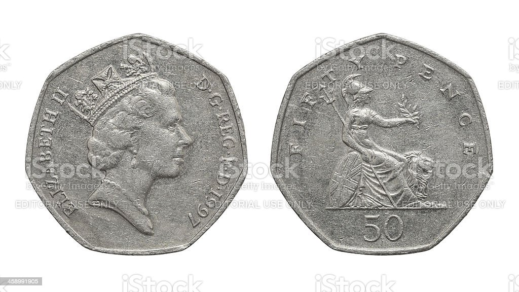 Fifty Pence coin isolated stock photo