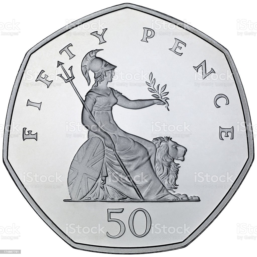 Fifty Pence Coin stock photo