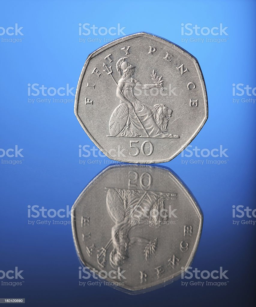 Fifty Pence Coin royalty-free stock photo