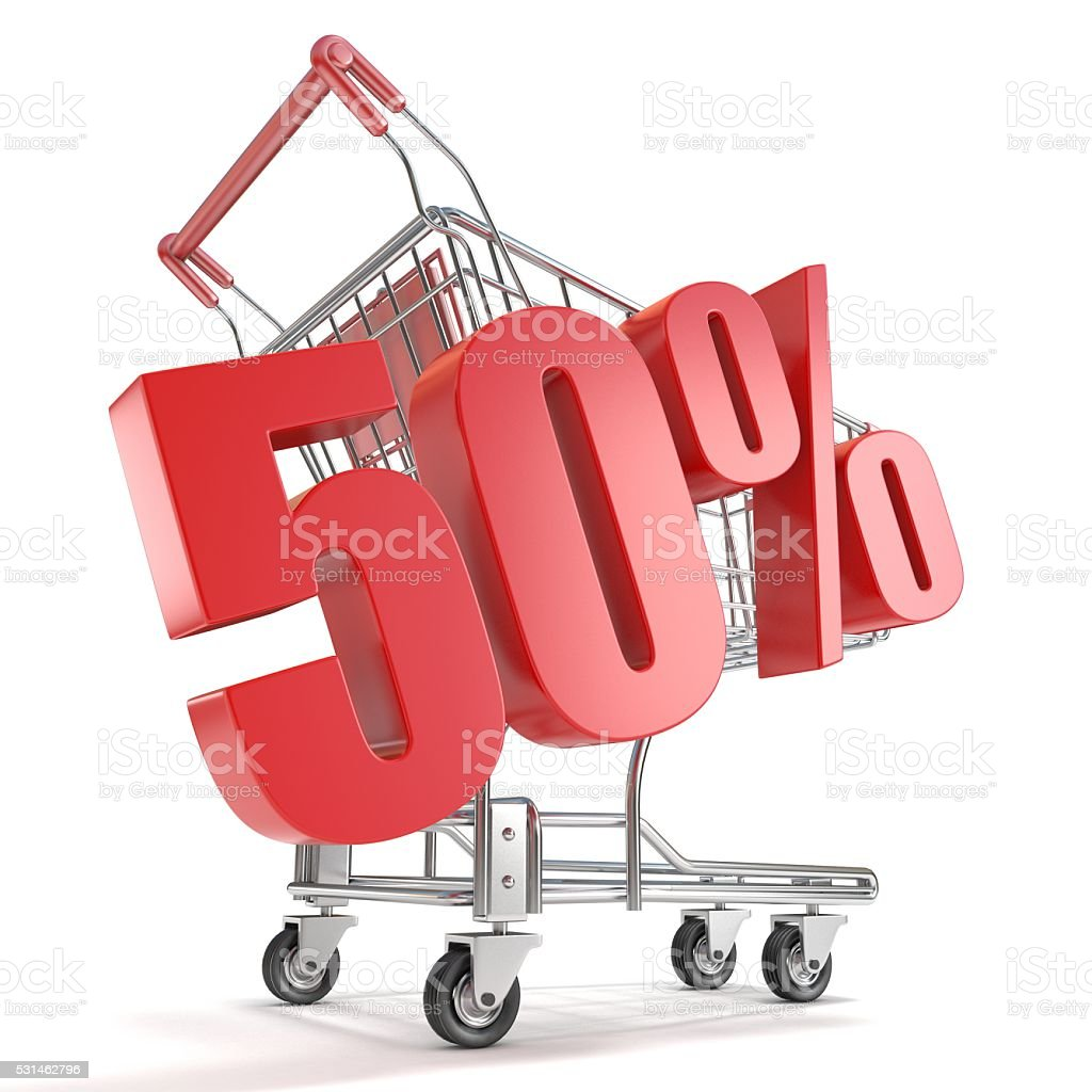 50% - fifty percent discount in front of shopping cart stock photo