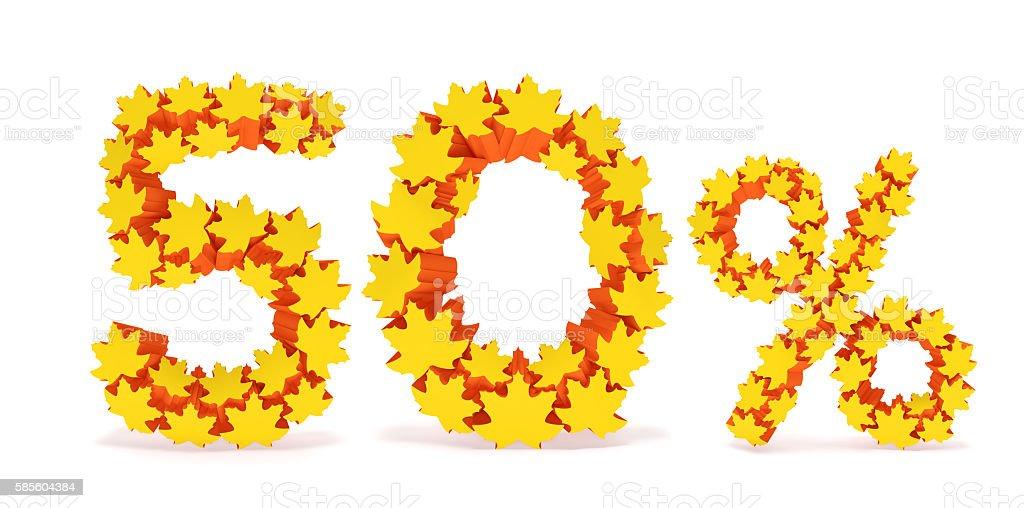 Fifty percent off (50% discount price). Autumn sale season stock photo