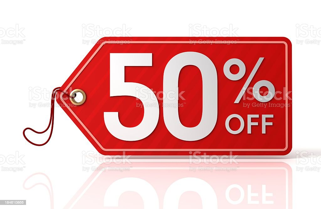 Fifty percent off label royalty-free stock photo