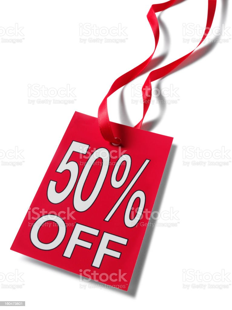 Fifty Percent Price Label stock photo